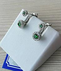 Оригинальные серебряные сережки с фианитами, фото 2