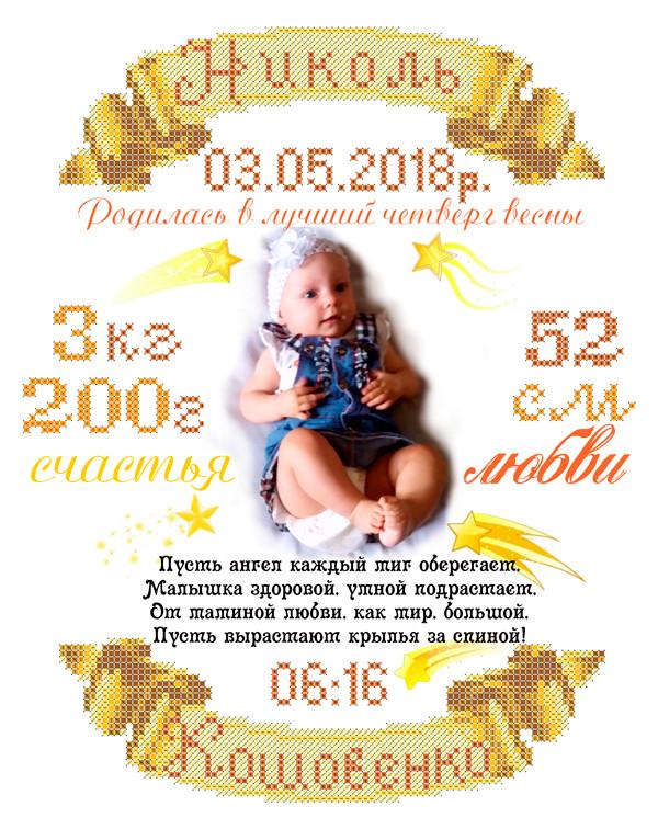 СКМ-208. Схема для вишивки бісером Дитяча метрика російською мовою (індивідуальне замовлення)