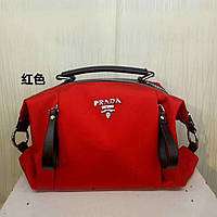 51353d392349 Яркая женская текстильная сумка от PRADA, красного цвета, с черными  ручками. Ткань: