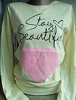 Батник с сердцем коттоновый женский Stay Beautiful, фото 1
