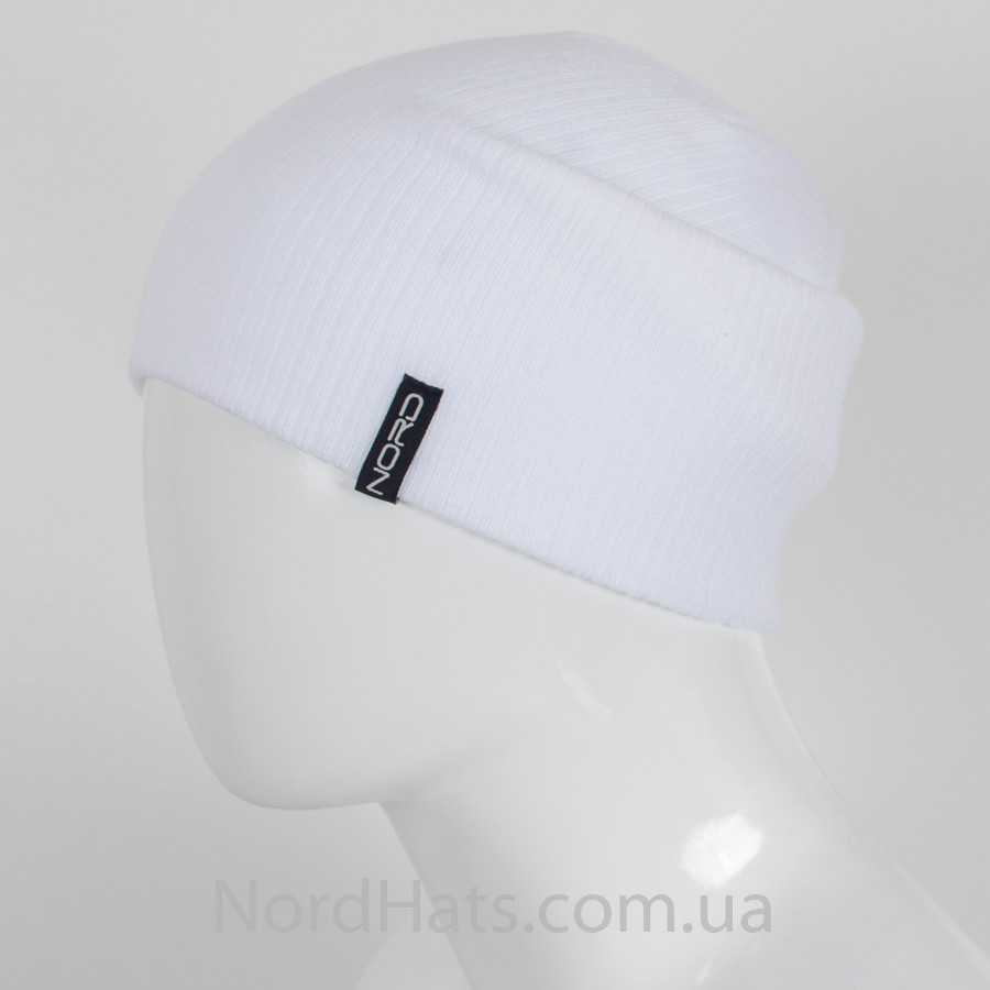 """Удлиненная молодежная шапка """"Рубчик"""" (Белый)"""