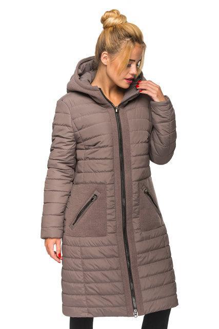 d3dc15c1b56 Зимняя женская куртка пальто плащевка с кашемиром 44-50 размера кофейное -  💎TM