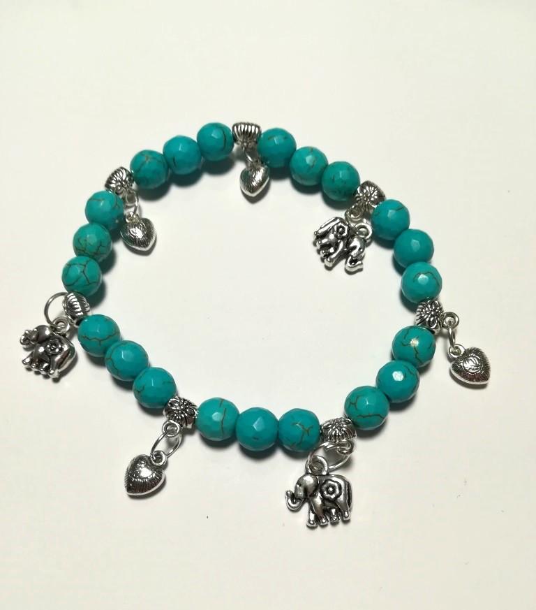 Браслет Бирюза натуральный камень, цвет голубой и его оттенки, тм Satori \ Sb - 0068