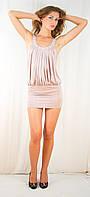 Открытое оригинальное эксклюзивное вечернее платье мини с камнями бежевое