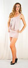 Открытое оригинальное эксклюзивное вечернее платье мини с камнями бежевое, фото 2