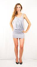 Платье клубное открытое эксклюзивное, украшенное стразами серое, фото 2