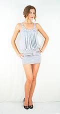 Платье клубное открытое эксклюзивное, украшенное стразами серое, фото 3