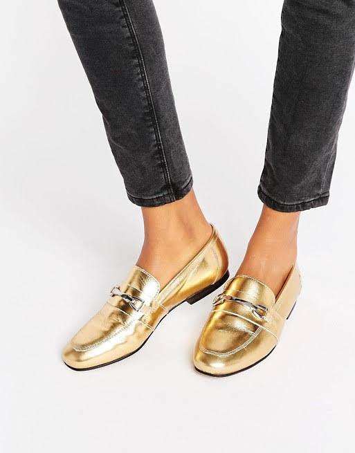 Золотые лоферы женские от miss selfidge для asos туфли