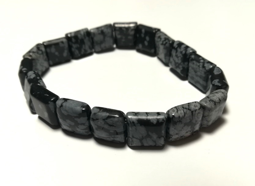 Браслет из Обсидиана, натуральный камень, цвет оттенки серого, тм Satori \ Sb - 0166