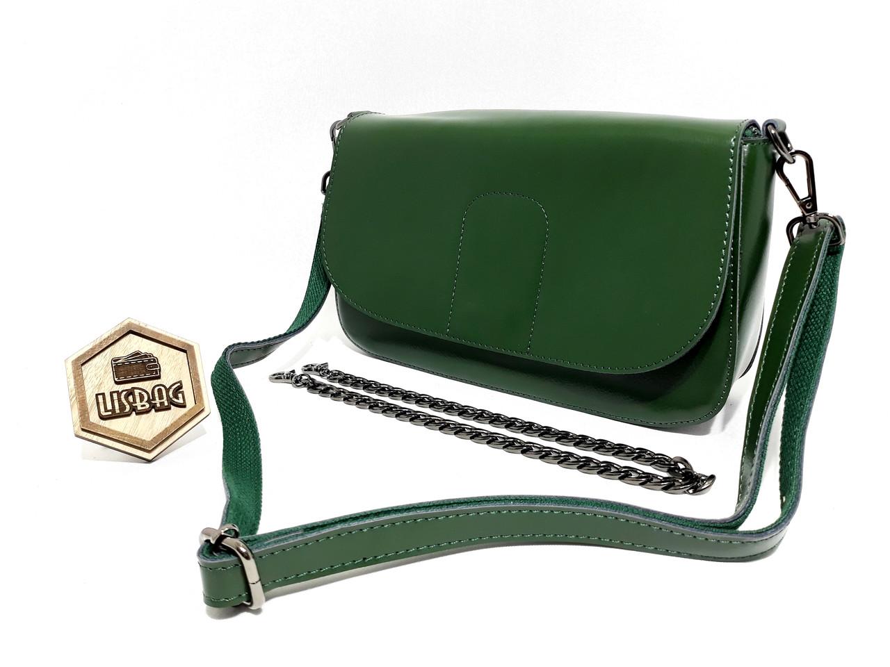 Темно-зеленая женская сумка из плотной натуральной кожи с двумя ремнями