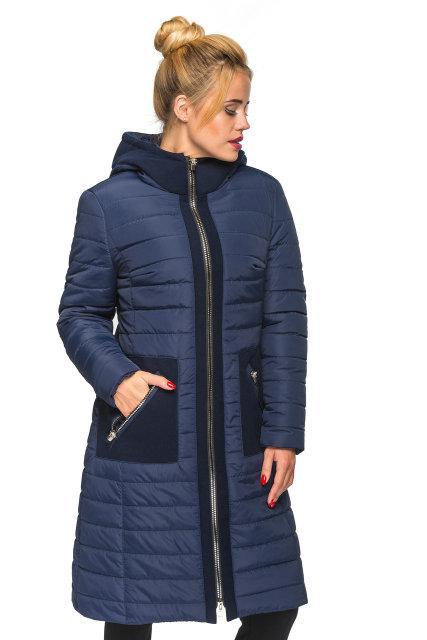 48f6f988ec9 Зимняя женская куртка пальто плащевка с кашемиром 44-50 размера синее -  💎TM