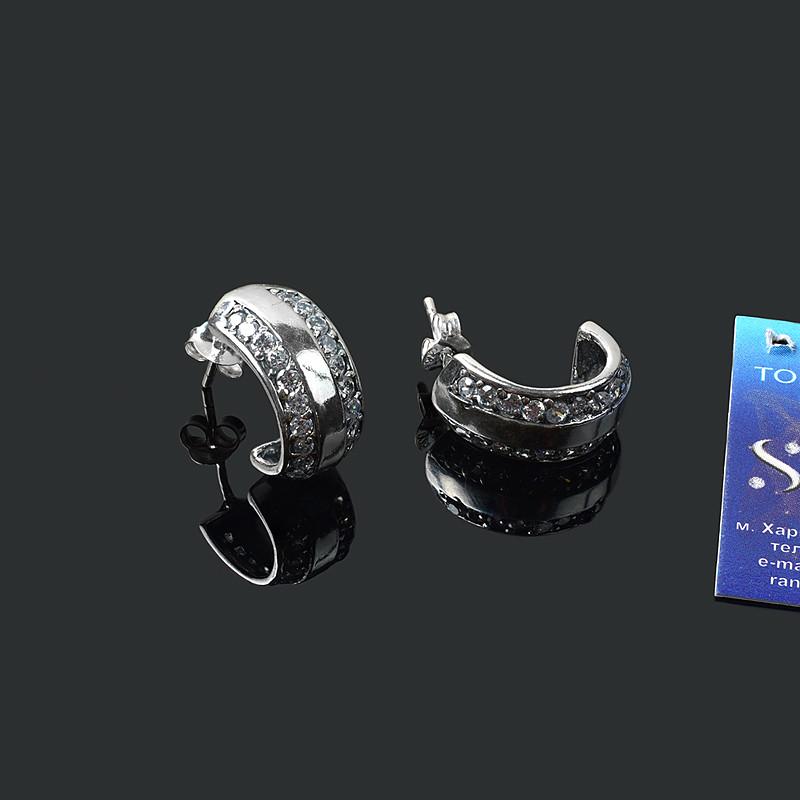 Серебряные серьги гвоздики с фианитом Дуга