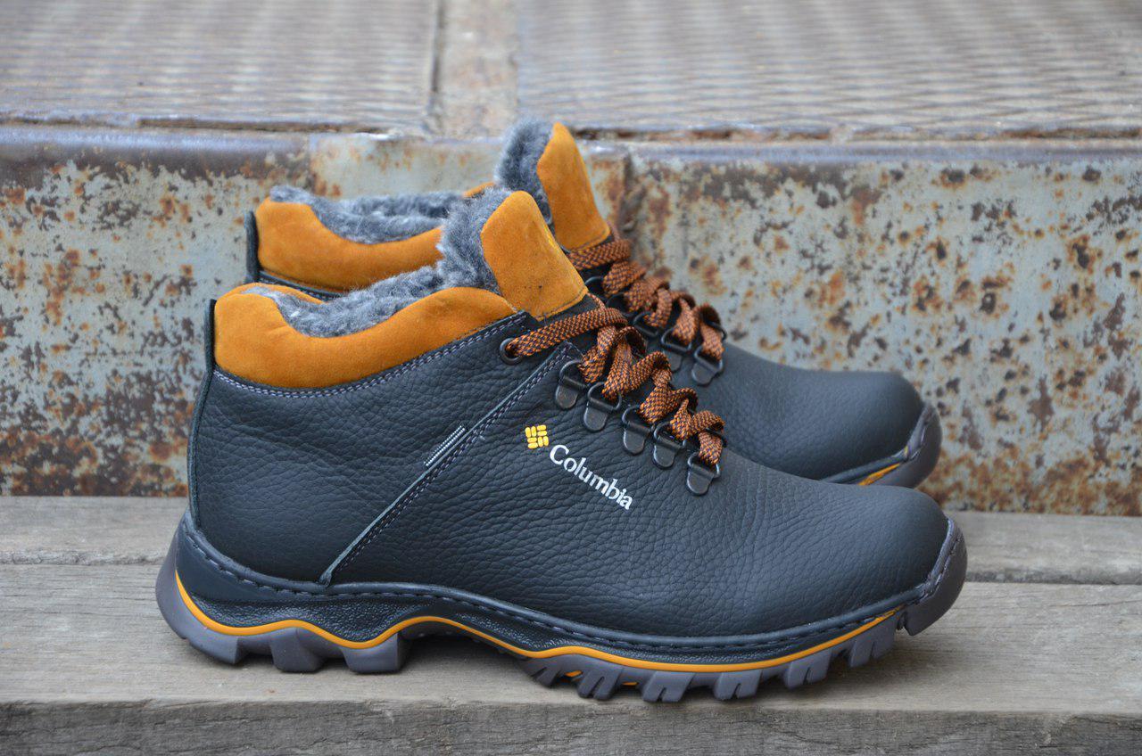 Мужские Зимние Кожаные Ботинки Columbia Черные Топ Реплика — в ... 92d58649ddd