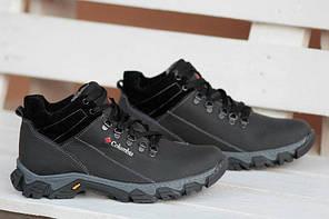 Мужские зимние кожаные ботинки Columbia полностью черные топ реплика, фото 2 572a00fbaba