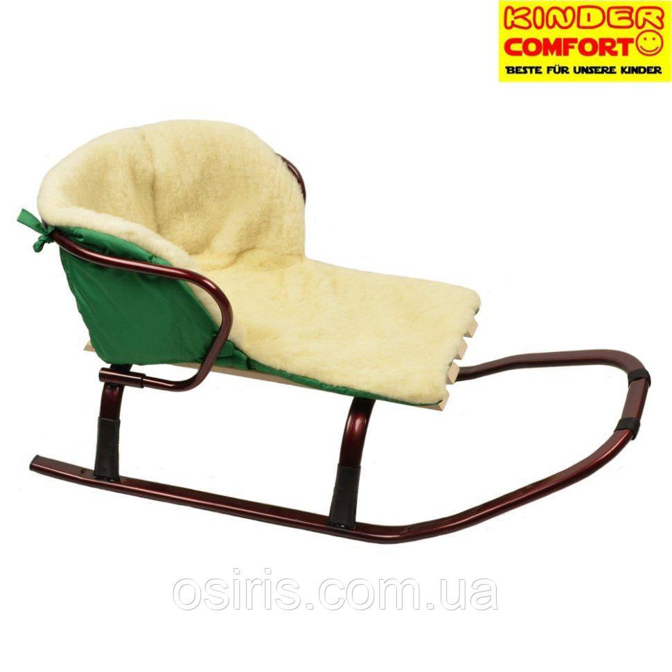 Меховой вкладыш в санки ТМ Kinder Comfort, зеленый