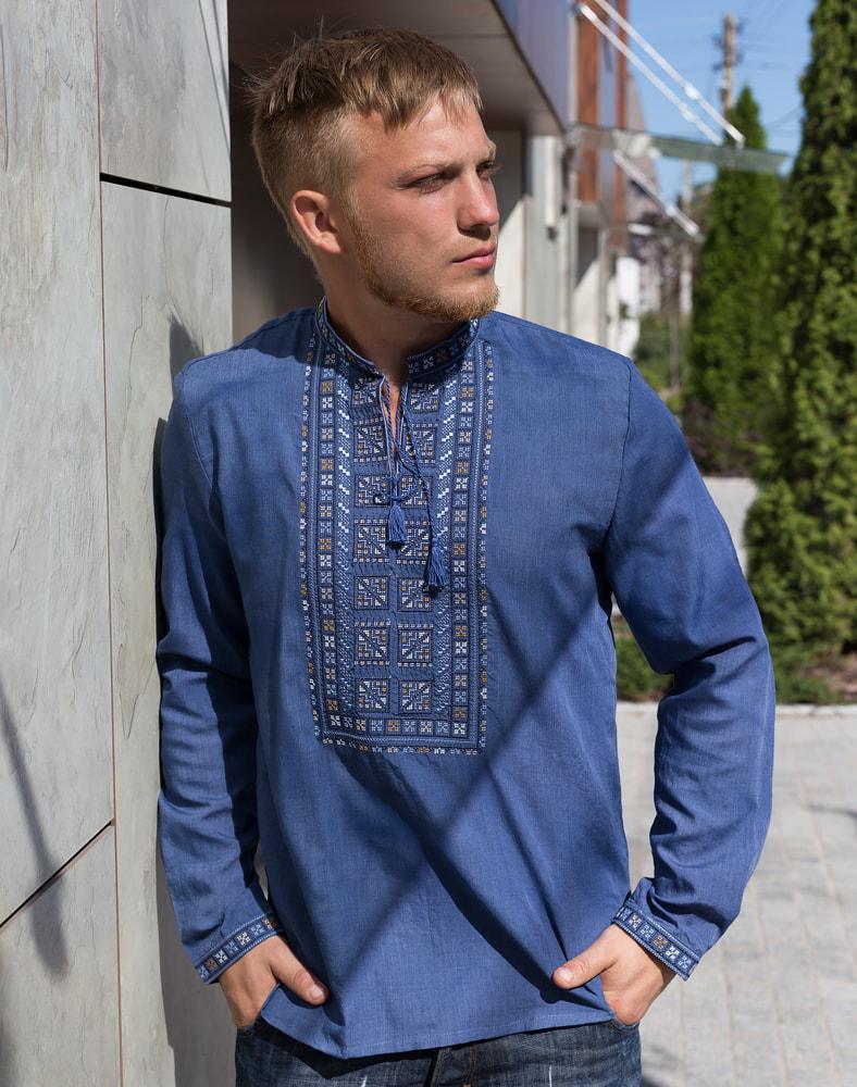 Вишиванка чоловіча синя розміри в наявності  продажа e9b6f23af5630
