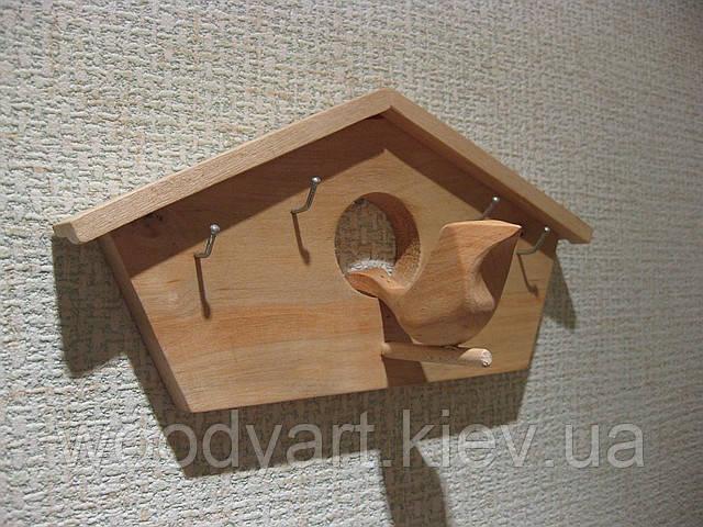 Ключница домик с птичкой, деревянная ключница