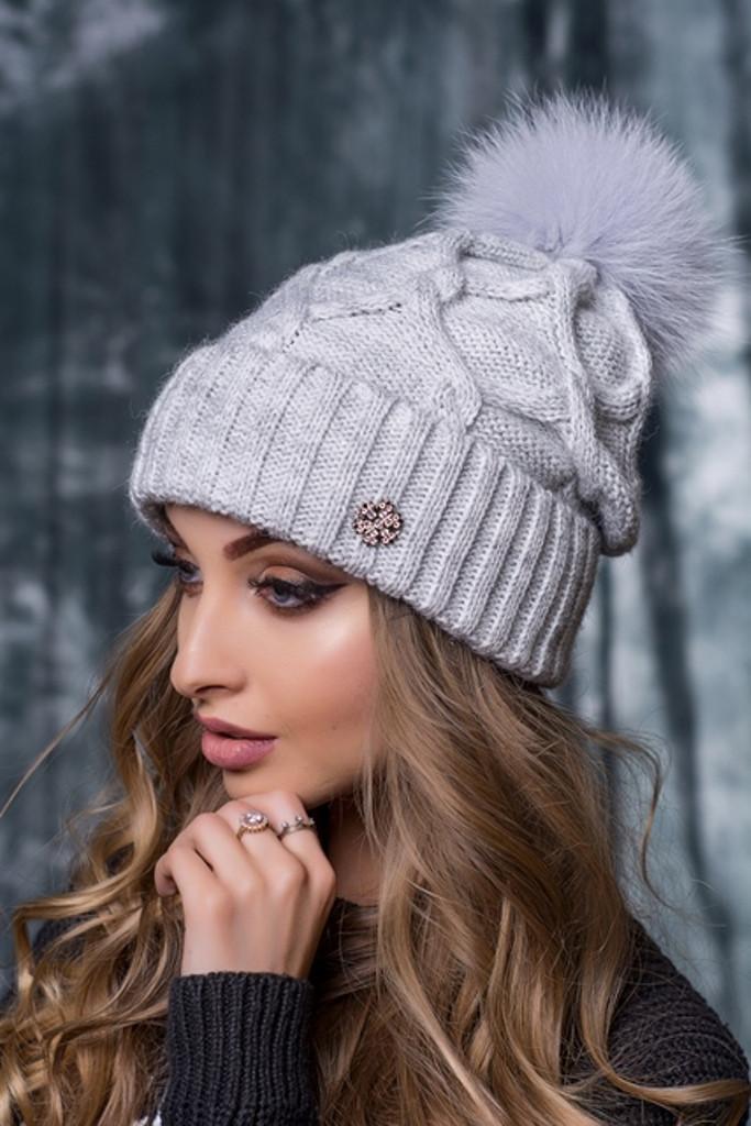 красивая вязаная шапка руна с натуральным бубоном продажа цена в