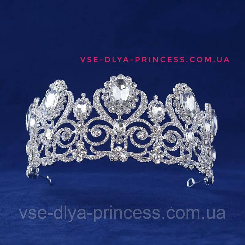 Диадема, тиара, корона под серебро с камнями, высота 7,5 см.