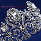 Диадема, тиара, корона под серебро с камнями, высота 7,5 см., фото 2