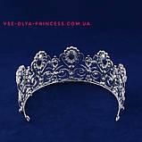 Диадема, тиара, корона под серебро с камнями, высота 7,5 см., фото 3