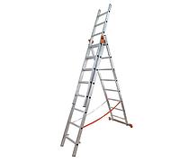 Лестница 3х8 (5,0м) BUDFIX (БЕЛАРУСЬ)+БЕСПЛАТНАЯ ДОСТАВКА, универсальная 3-х секц. алюминиевая, арт. 62191