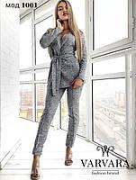 Женский ангоровый костюм-двойка брюки и жакет на запах с поясом, фото 1