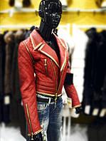 Куртка косуха кожаная женская   укороченная, рукава - отстегиваются, бордового цвета, фото 1
