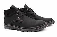 Ботинки мужские модельные Flamanti нубук, цвет черный (платформа, комфорт, зима, мех, Украина)