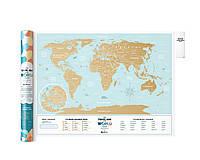 Скретч карта мира Travel Map Holiday Lagoon World (английский язык) в тубусе, фото 1