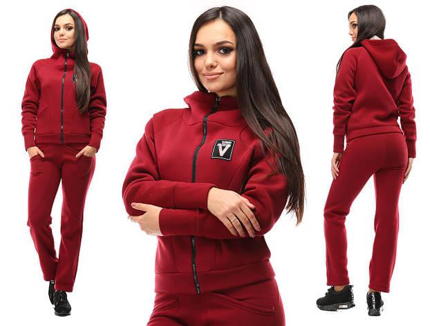 Спортивный костюм от производителя, с капюшоном, бордовый, фото 2