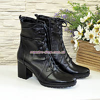 Ботинки зимние кожаные на устойчивом каблуке, на шнуровке, фото 1