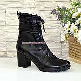 Ботинки зимние кожаные на устойчивом каблуке, на шнуровке, фото 2