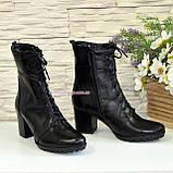 Ботинки зимние кожаные на устойчивом каблуке, на шнуровке, фото 3