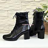 Ботинки зимние кожаные на устойчивом каблуке, на шнуровке, фото 4