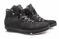 Ботинки мужские Konors нубук, цвет черный (платформа, комфорт, зима, нат. мех, Украина)