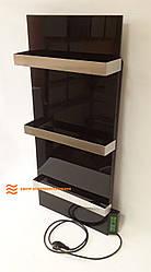 Стекло–керамический полотенцесушитель Dimol Standart 07 TR с терморегулятором (чёрный)