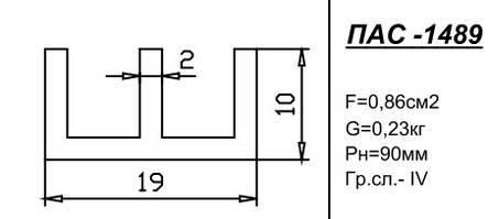 Ш-образный профиль 19х10х2 анод, фото 2