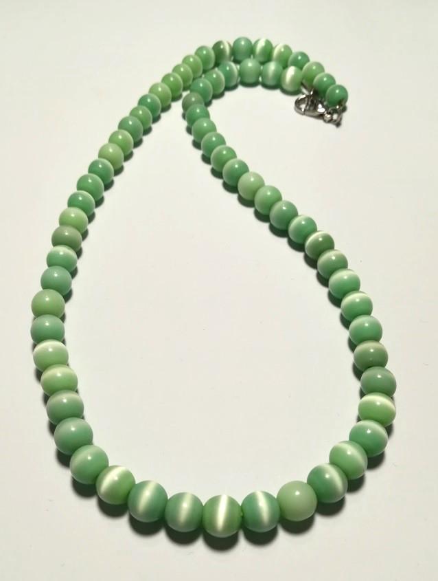 Колье из Кошачьего глаза, натуральный камень, цвет мятный и его оттенки, тм Satori \ Sk - 0012