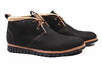 Ботинки мужские Konors стильные, нубук, цвет черный (платформа, комфорт, зима, Украина)