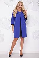 Женское платье на осень свободного покроя Розкошь / размер 50-62 / цвет электрик+черный