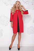 Женское платье на осень свободного покроя Розкошь / размер 50-62 / цвет красный+черный