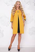 Женское платье на осень свободного покроя Розкошь / размер 50-62 / цвет горчица+черный