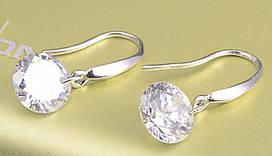 Серьги с прозрачным камнем Sterling Silver