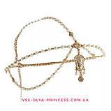 Діадема в східному стилі, тика під золото з підвісними світлими намистинами, тіара, висота 8,5 див., фото 3