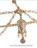 Діадема в східному стилі, тика під золото з підвісними світлими намистинами, тіара, висота 8,5 див., фото 4
