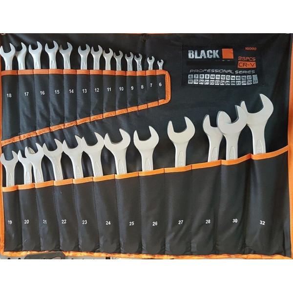 Набор ключей рожково-накидных Black 25 предметов