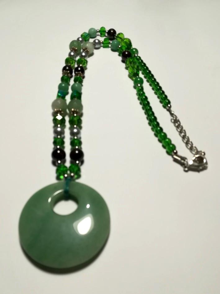 Колье из Нефрита, натуральный камень, цвет зеленый и его оттенки, тм Satori \ Sk - 0017