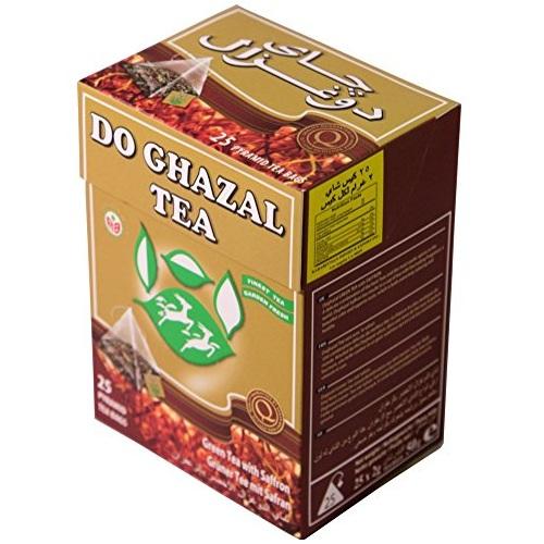 Чай  Akbar Do Ghazal 50g зеленый пирамидками с шафраном