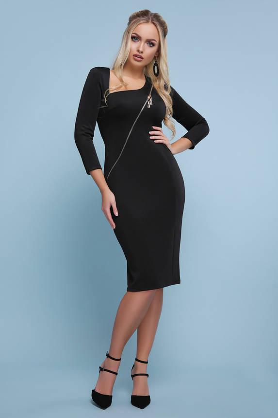 Черное платье миди облегающее с косой молнией, фото 2